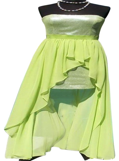 Item - Apple Green Sequin Encrusted Event New Hi Low Lined 4/6/8 S Long Night Out Dress Size 6 (S)