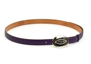 Tod's Leather & Silver Metal Logo Buckle,
