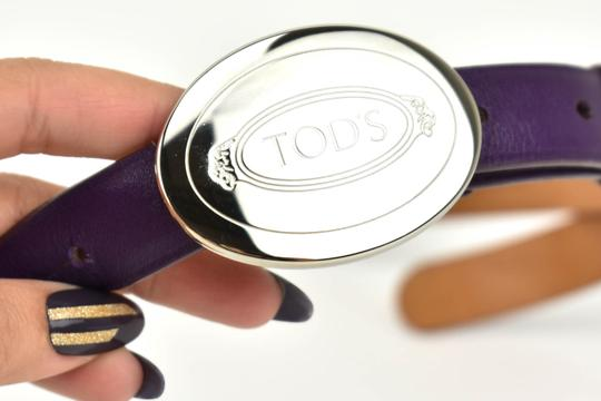 Tod's Leather & Silver Metal Logo Buckle, Image 2