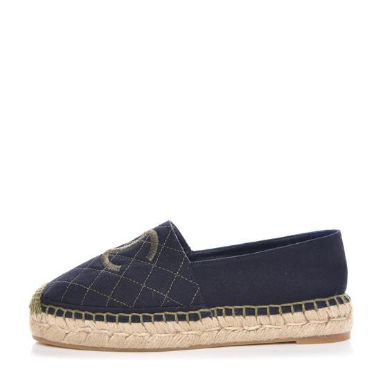 Preload https://img-static.tradesy.com/item/25374736/chanel-blue-classic-green-cc-quilted-espadrille-cap-toe-slip-on-flats-size-eu-41-approx-us-11-regula-0-1-540-540.jpg