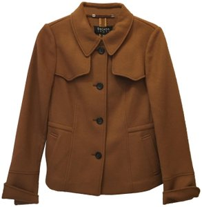 Escada Jacket Wool Cashmere Blend Leather & Buckles Size 6 S Small New With Tags Brown Blazer