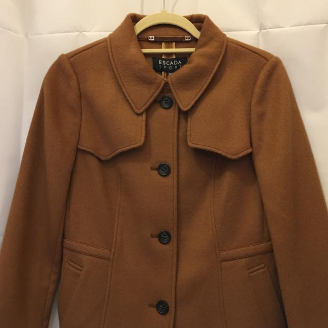 Escada Jacket Wool Cashmere Blend Leather & Buckles Size 6 S Small New With Tags Brown Blazer Image 1