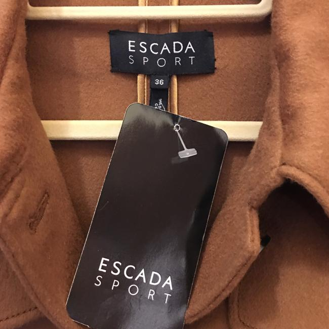 Escada Jacket Wool Cashmere Blend Leather & Buckles Size 6 S Small New With Tags Brown Blazer Image 2