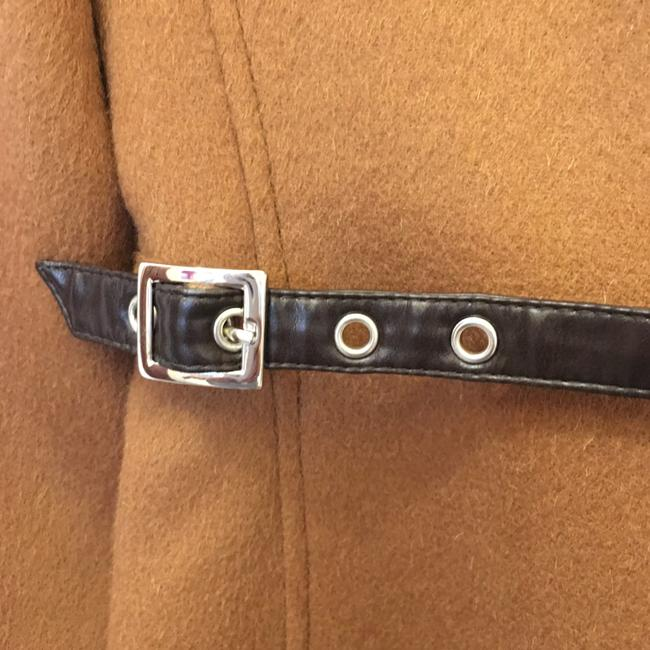 Escada Jacket Wool Cashmere Blend Leather & Buckles Size 6 S Small New With Tags Brown Blazer Image 4
