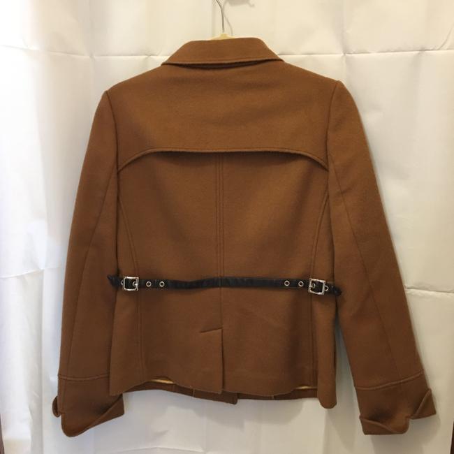 Escada Jacket Wool Cashmere Blend Leather & Buckles Size 6 S Small New With Tags Brown Blazer Image 6