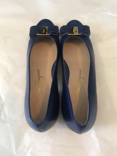 Salvatore Ferragamo Ballet Leather Varina Blue Pumps Image 5
