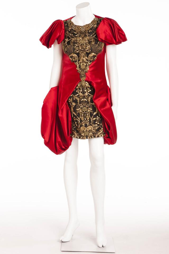 a653dab2927 Alexander McQueen Red Gold Formal Short Cocktail Dress Size 6 (S ...
