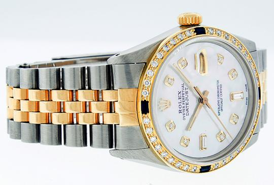 Rolex Mens Datejust Ss/Yellow Gold with MOP Diamond Dial Watch Image 7