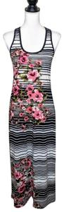 Black, White, Pink, Striped, Floral Maxi Dress by American Rag Racerback Maxi Spring