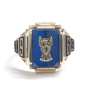 Other GORGEOUS!! LIKE NEW 14 Karat Yellow Gold 1969 School Ring with Blue Stone