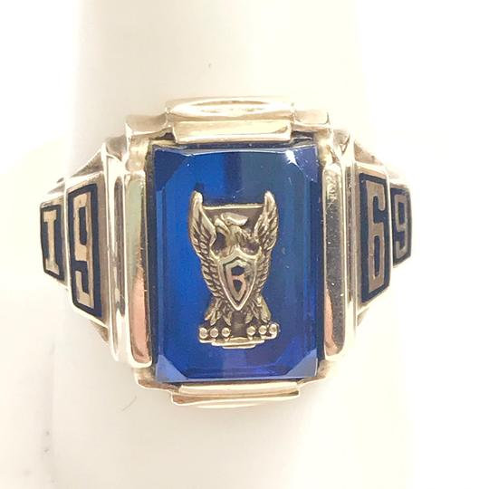 Other GORGEOUS!! LIKE NEW 14 Karat Yellow Gold 1969 School Ring with Blue Stone Image 1