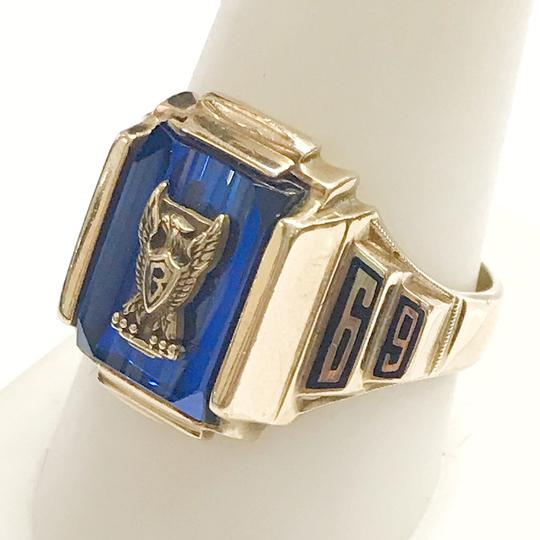 Other GORGEOUS!! LIKE NEW 14 Karat Yellow Gold 1969 School Ring with Blue Stone Image 3
