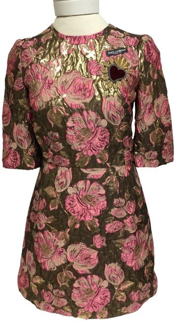 Preload https://img-static.tradesy.com/item/25374955/dolce-and-gabbana-pink-and-gold-floral-jacquard-sleeve-short-cocktail-dress-size-4-s-0-2-650-650.jpg