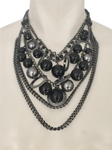 Givenchy GIVENCHY Black Gunmetal Bib Necklace