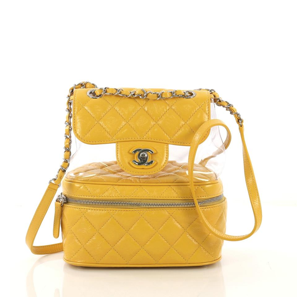 3680767e50b7 Chanel Zip Around Flap Quilted Crumpled Small Yellow Calfskin and ...