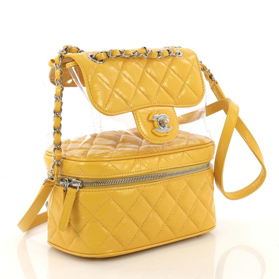 33007267b20e Chanel Zip Around Flap Quilted Crumpled Small Yellow Calfskin and Pvc  Backpack - Tradesy