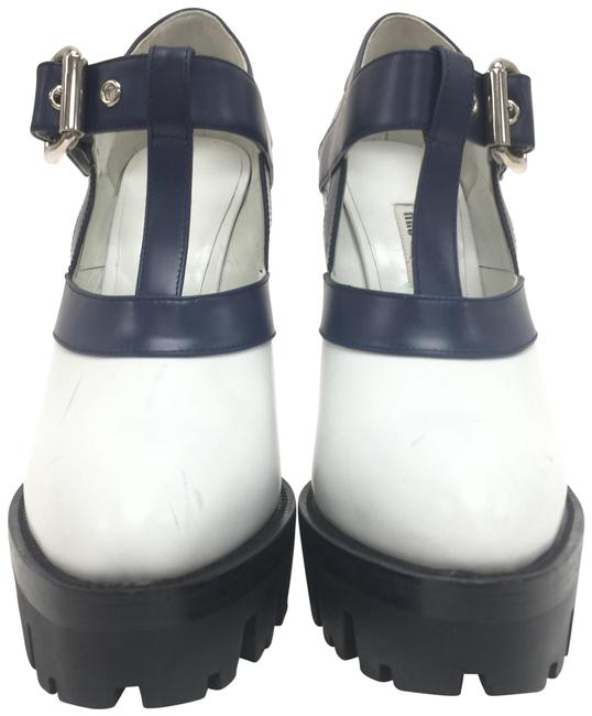 Item - Blue / White Leather Platform Pointed Toe High Heels Wedges Size EU 40 (Approx. US 10) Regular (M, B)