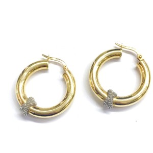 Other GORGEOUS!! Two Toned 14 Karat Yellow Gold and White Gold Hoop Earrings