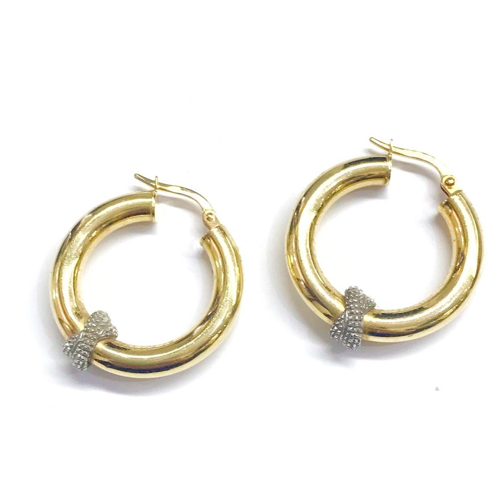 Two Toned 14 Karat Yellow Gold And White Hoop Earrings