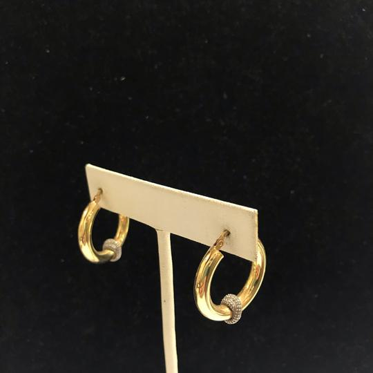 Other GORGEOUS!! Two Toned 14 Karat Yellow Gold and White Gold Hoop Earrings Image 3