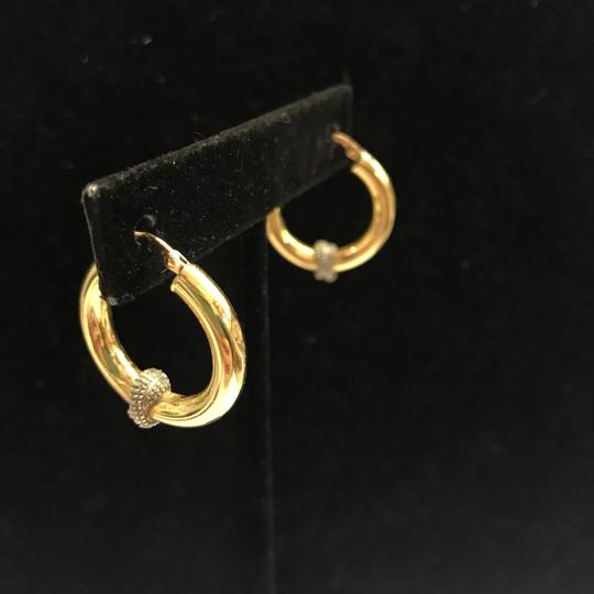 Other GORGEOUS!! Two Toned 14 Karat Yellow Gold and White Gold Hoop Earrings Image 4