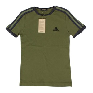 adidas X Yeezy Shortsleeve Striped Crew Neck Cotton T Shirt Green