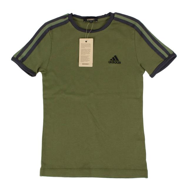adidas X Yeezy Shortsleeve Striped Crew Neck Cotton T Shirt Green Image 0