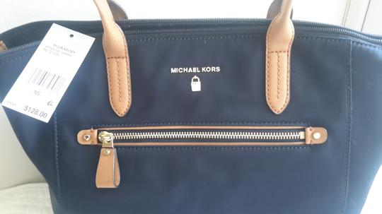 Michael Kors Leather Tote in Navy/Brown Image 1