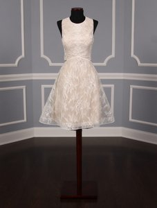 Nha Khanh Ivory and Champagne Lace Tulle Melissa Modern Wedding Dress Size 8 (M)