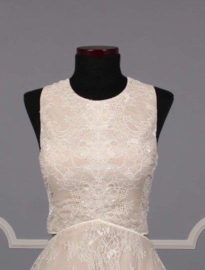Nha Khanh Ivory and Champagne Lace Tulle Melissa Modern Wedding Dress Size 8 (M) Image 1