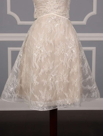 Nha Khanh Ivory and Champagne Lace Tulle Melissa Modern Wedding Dress Size 8 (M) Image 2