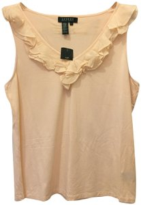 Lauren Ralph Lauren V-neck Ruffle Detail Size L Large New With Tags Top Pale Pink