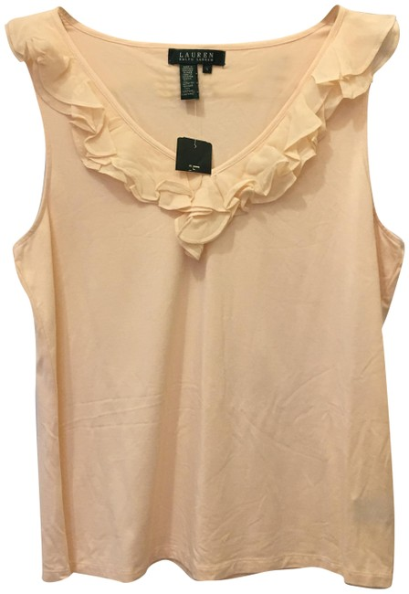 Lauren Ralph Lauren V-neck Ruffle Detail Size L Large New With Tags Top Pale Pink Image 0