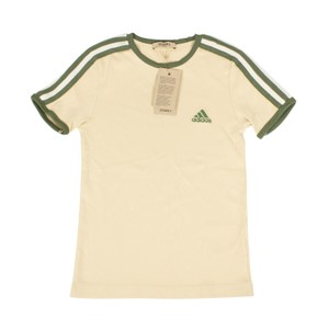 adidas X Yeezy Shortsleeve Striped Crew Neck Cotton T Shirt Beige