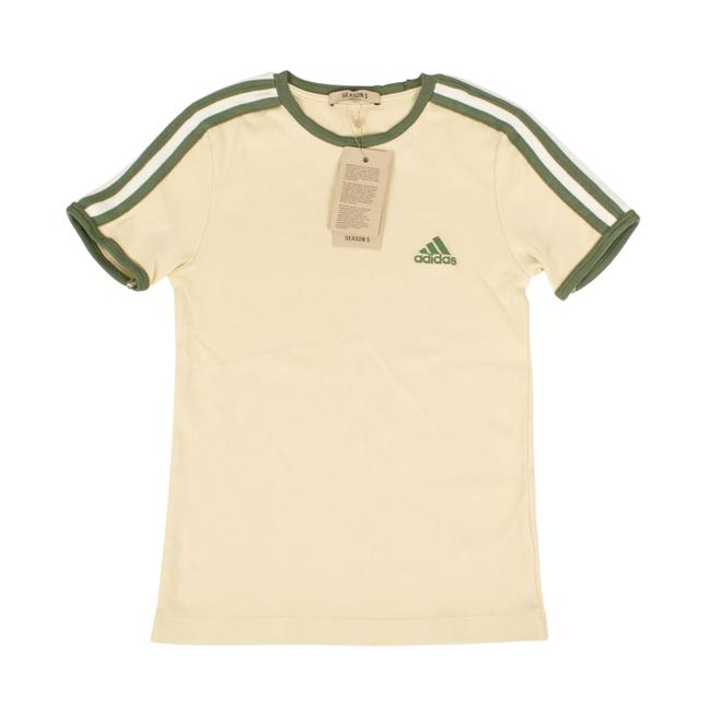 adidas X Yeezy Shortsleeve Striped Crew Neck Cotton T Shirt Beige Image 0