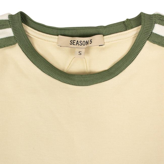adidas X Yeezy Shortsleeve Striped Crew Neck Cotton T Shirt Beige Image 5