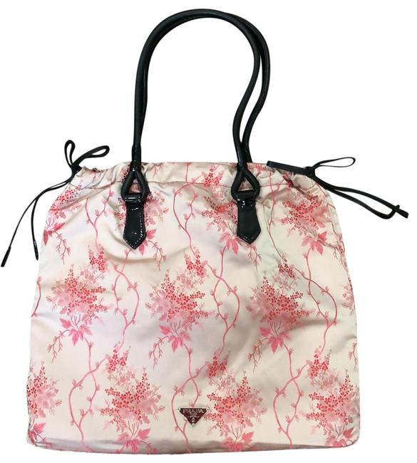 Item - W And Red W/Black Leather Straps Pink/Black Handle Satin Tote