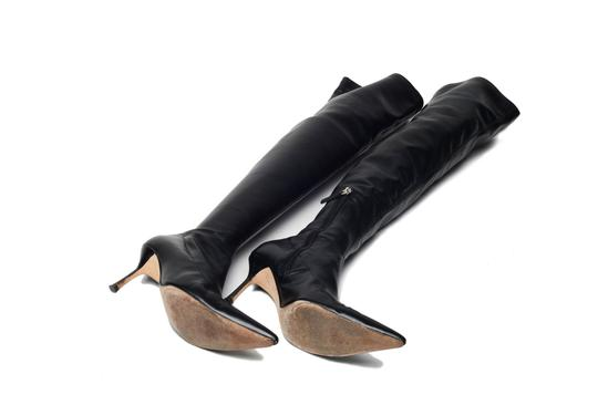 Versace Over The Knee Leather Vintage Black Boots Image 2