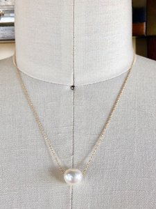 14k Gold/White South Sea Floating Pearl 16 Inch Chain Necklace