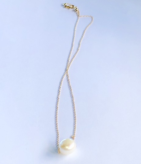 14k Gold/White South Sea Floating Pearl 16 Inch New Necklace Image 3