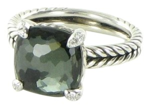 David Yurman Chatelaine Ring 11mm Green Orchid Diamond Sterling Silver Size 7