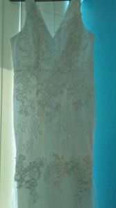 Lulu*s White Nylon and Polyester Hadleigh Embroidered Lace Sleeveless Maxi Style 704282 Casual Wedding Dress Size 6 (S)