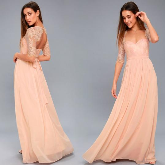 Preload https://img-static.tradesy.com/item/25375469/lulus-blush-lace-and-chiffon-in-a-fairy-tale-formal-bridesmaidmob-dress-size-4-s-0-0-540-540.jpg