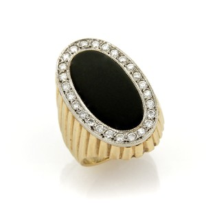 Other Diamond & Onyx Oval Fluted Design 14k Two Tone Gold Ring