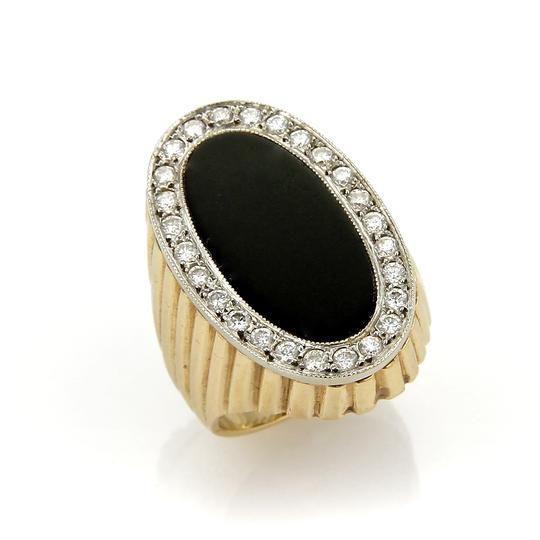 Preload https://img-static.tradesy.com/item/25375486/20634-diamond-and-onyx-oval-fluted-design-14k-two-tone-gold-ring-0-0-540-540.jpg