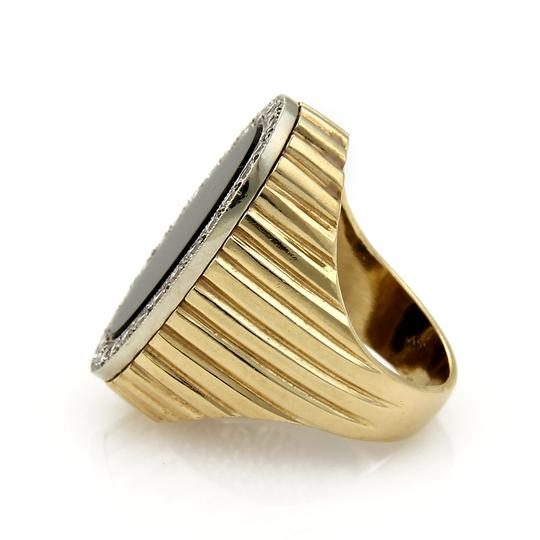 Other Diamond & Onyx Oval Fluted Design 14k Two Tone Gold Ring Image 1