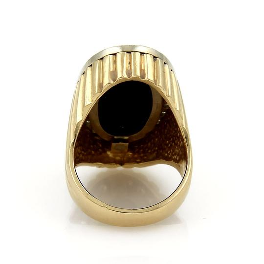 Other Diamond & Onyx Oval Fluted Design 14k Two Tone Gold Ring Image 3