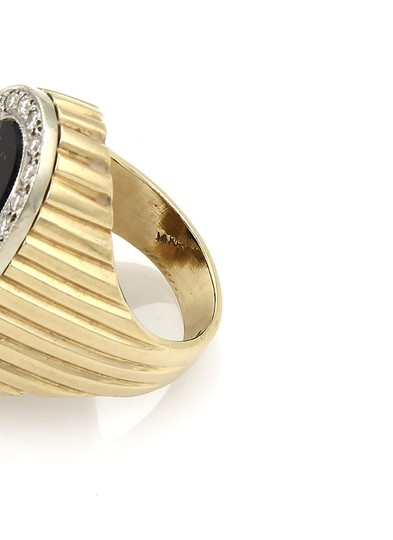 Other Diamond & Onyx Oval Fluted Design 14k Two Tone Gold Ring Image 4