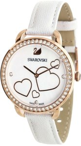 Swarovski NEW SWAROVSKI (5242514) AILA DAY HEART MOP WHITE LEATHER STRAP CRYSTAL