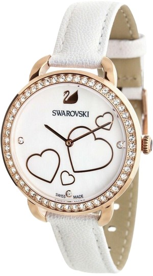 Swarovski NEW SWAROVSKI (5242514) AILA DAY HEART MOP WHITE LEATHER STRAP CRYSTAL Image 0